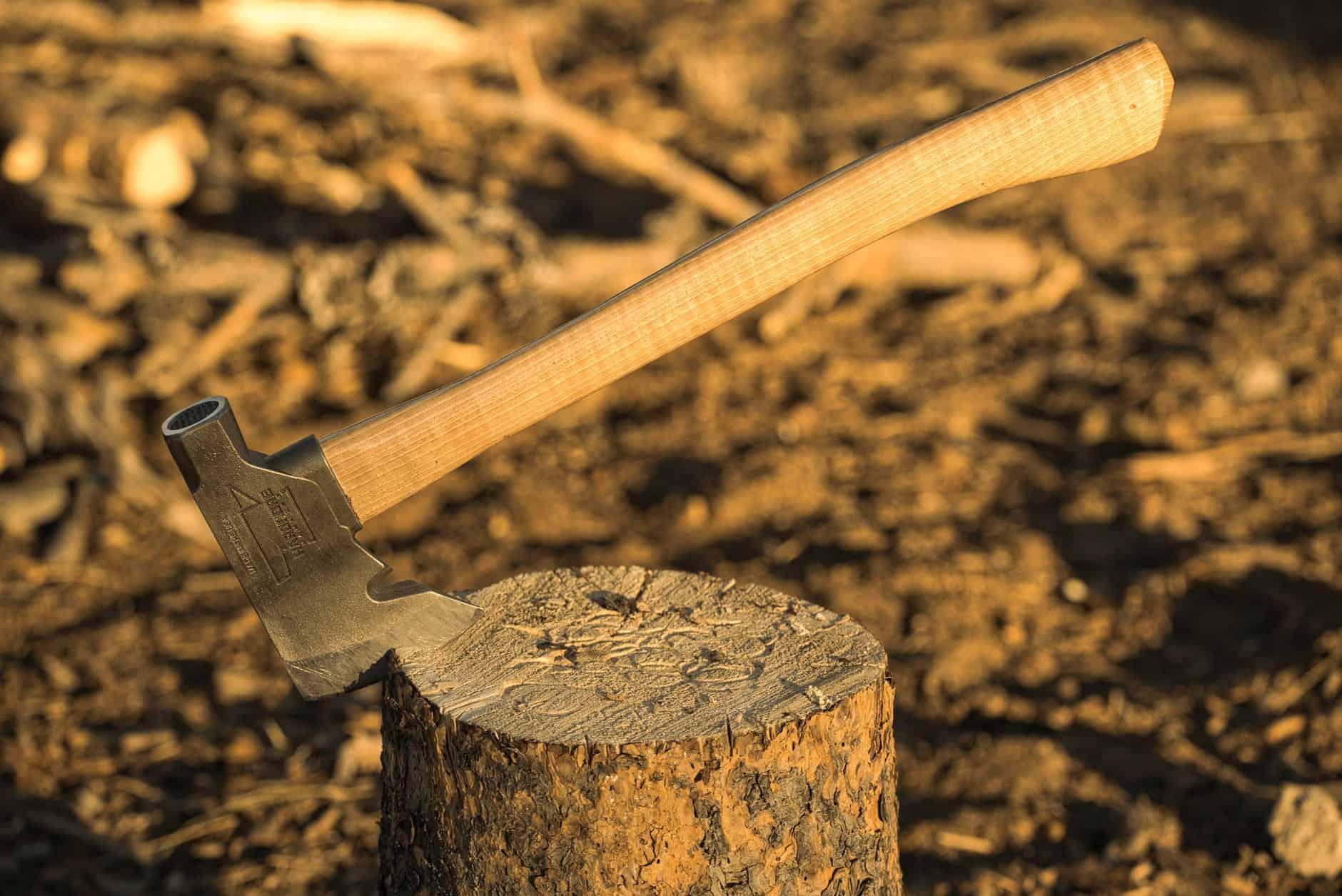 shallow focus photo of axe on tree stump