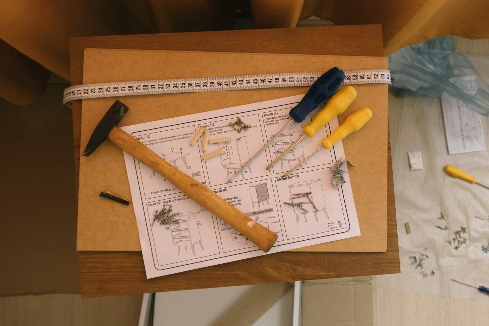assembly tools and instructions on cabinet