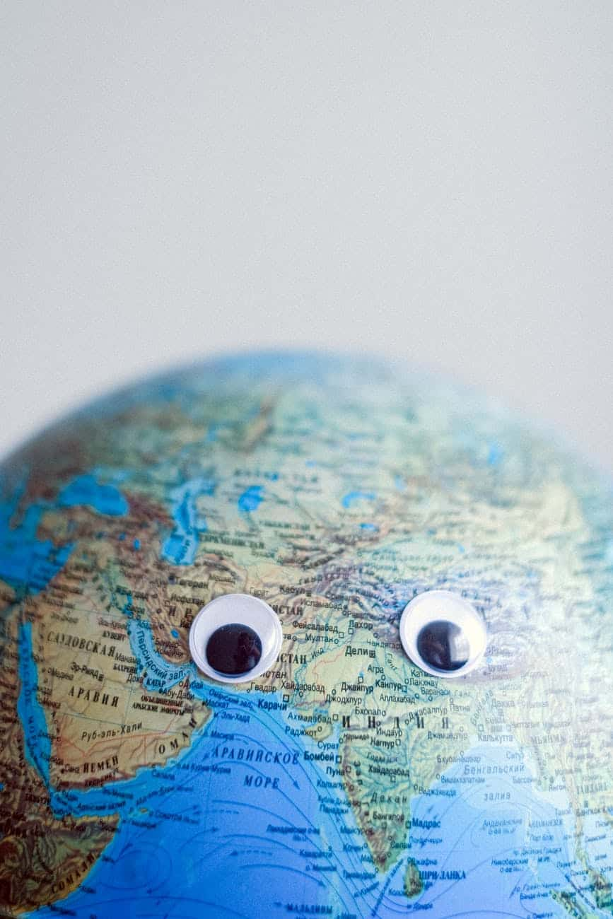 earth globe with googly eyes on gray background